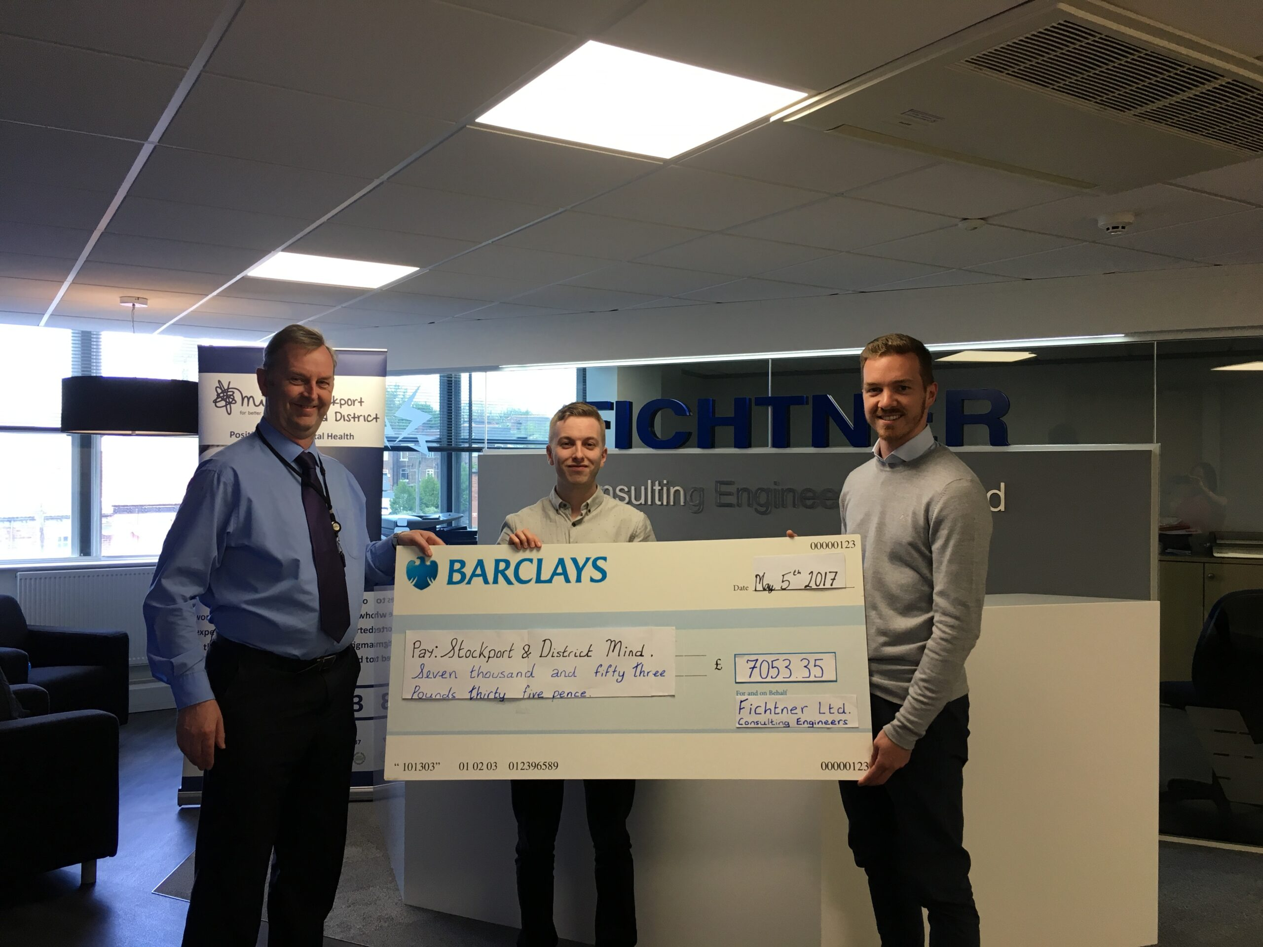 Fichtner present us with Big Cheque for £7053.35 fundraising total